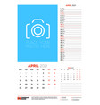 wall calendar planner template for april 2021 vector image vector image