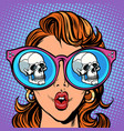 woman with sunglasses human skull in reflection vector image vector image