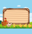 wooden sign template with many chickens vector image vector image