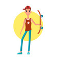 young skateboarder with skateboard in hand skater vector image vector image