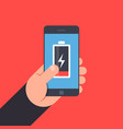 hand holding to a smartphone low battery life of vector image