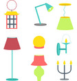 set of different lamps furniture and floor lamps vector image
