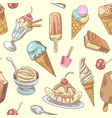ice cream hand drawn seamless background vector image