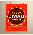 happy diwali wishes greeting flyer template design vector image