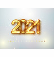 2021 happy new year gold design metallic numbers vector image vector image