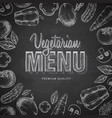 chalk drawing typography vegetarian menu design vector image vector image