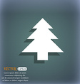 Christmas tree icon symbol on the blue-green vector image vector image