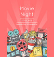 Cinema doodle icons poster for movie night