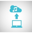 computer connected cloud music vector image vector image