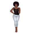 curvy african american girl in casual wear