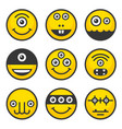 cute alien monsters set yellow avatar icons vector image