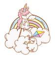cute unicorn stick on cloud vector image