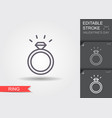 diamond engagement ring line icon with editable vector image