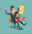 excited businessman opening gift box with money vector image vector image