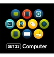 Flat icons set 23 - computer collection vector image vector image