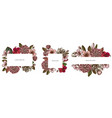 floral frames with colored hibiscus plum flowers vector image