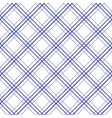 geometric plaid diagonal line blue and white vector image vector image