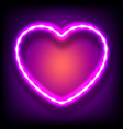 glowing neon frame in shape of heart with light vector image vector image