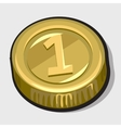 Gold coin with the number one vector image vector image