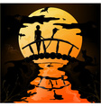 Halloween silhouette of a young witch flying on a vector image vector image