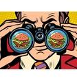 hungry man wants a Burger vector image vector image