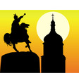 khmelnytsky monument and tower of the church in ki vector image