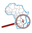 malawi under a magnifying glass vector image