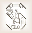 mechanical letter s engraving vector image vector image