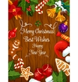Merry Christmas New Year wishes greeting card vector image