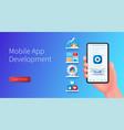 mobile app development banner hand holds vector image vector image
