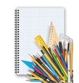 Notepad and pens vector image vector image