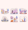 people walking with different breeds of dogs vector image vector image