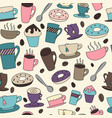 seamless background of coffee and tea vector image vector image
