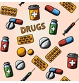 Seamless drugs pills handdrawn pattern with - box vector image