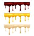 set dripping seamless chocolate honey caramel vector image