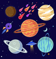 set of cartoon planets and space elements vector image vector image