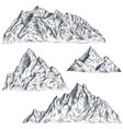 set of hand drawn graphic mountain ranges vector image