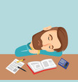 student sleeping at the desk with book vector image vector image