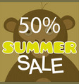 summer sale poster with monkey vector image vector image