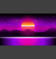 synthwave retrowave sunset background vector image