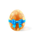 template card with realistic egg gift bow vector image