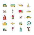 transportation icon set flat vector image vector image