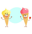 two funny ice cream cone characters - strawberry vector image vector image