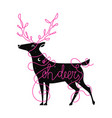 with deer and lettering quote oh deer vector image vector image