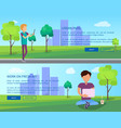 work on fresh air in urban park web banners set vector image vector image