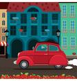 Retro car rides through the old town vector image