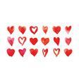 Heart watercolor set vector image