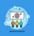 three people and speech bubble with brain and vector image