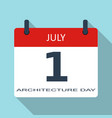 1 july architecture day flat daily calend vector image vector image