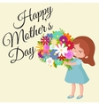 baby girl with flowers cart vector image